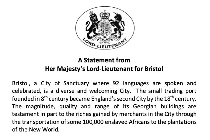 A Statement from Her Majesty's Lord-Lieutenant for Bristol