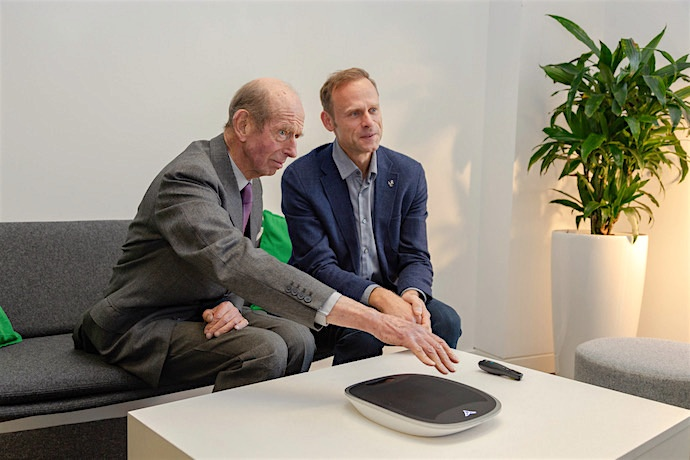 HRH feels the ultrasound waves as he operates an advertising display