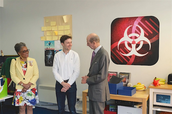 HRH congratulates Ndemic Creations Founder James Vaughan on achieving the Queen's Award for Enterprise for innovation