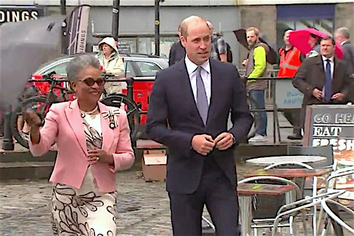 HRH is accompanied by Lord-Lieutenant Peaches Golding