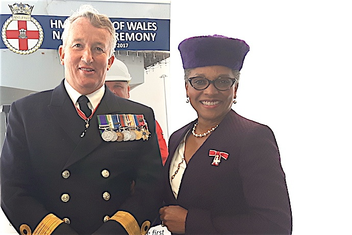 The Lord-Lieutenant and Commodore Jamie Miller CBE, Regional Naval Commander Wales & West, who retired on 10 September 2017.