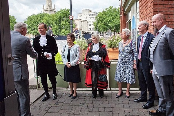 Dignitaries are presented to HRH. Left to right: High Sheriff Mr Anthony Brown & consort Mrs Gabrielle Brown; Lord Mayor Cllr Mrs Lesley Alexander & consort Mrs Patricia Wyatt; Mr Oliver Delaney, Chairman & Mr Dom Wood, Chief Exec, 1625ip.