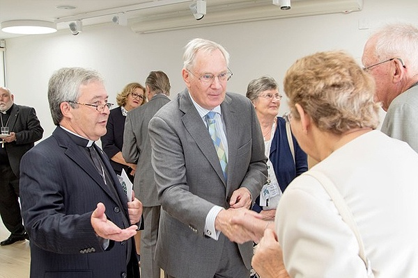 Revd Ward Jones presents HRH to guests at the New Room Visitor Centre.